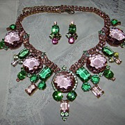 Lilien Pink and Green Czech Rhinestone Necklace and Earring Set
