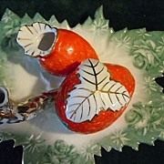Limoges China Ladies Strawberry Inkwell