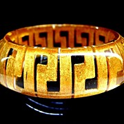 24K Gold Lucite Bangle Bracelet
