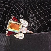 Gold Tone, Red and White Rhinestones Art Deco style Hatpin -