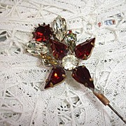 Victorian Hatpin - Ruby Color with Rhinestones