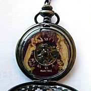 Fancy Brass Pocket Watch  with Victorian Style Ladies