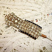 Victorian Rhinestone and Black Glass Hatpin