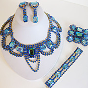 Dramatic 1950's-Look Rhinestone Full Parure