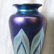 Favrile Blue Pulled Feather Vase Signed L.C.Tiffany