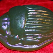 Iridescent Art Glass Scarab Paperweight Signed L.C. Tiffany Favrile