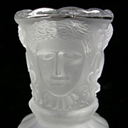 Three Face Sisters Frosted Glass Toothpick Holder