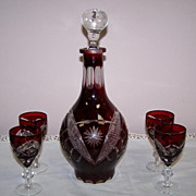 Bohemian Ruby Cut to Clear Glass Decanter and Cordials Set