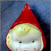 Ceramic Little Red Riding Hood Head Vase