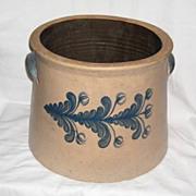 Old Stoneware Crock with Cobalt Flower Decoration