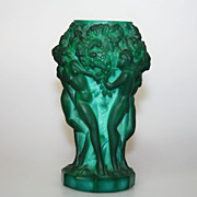 Green Malachite Glass Grape Harvest Vase Czechoslovakia
