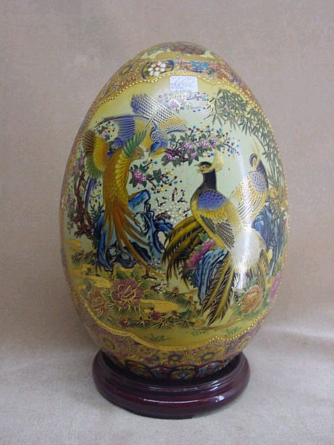Oriental Satsuma Decorative Egg From China From