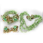 Early gorgeous hand wired full parure - coil bracelet necklace and earrings