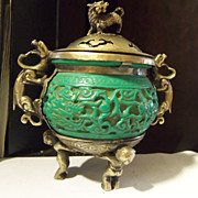 Green Cinnabar or Jade Brass  Incense Dragon Foo