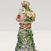 Fine Porcelain Flower Encrusted Scent Bottle German Porcelain