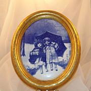 Vintage Unique Blue & White Porcelain Tile of 2 Girls Under an Umbrella in Snow