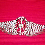 Wing Shaped, Rhinestone Covered, Ornamental Piece