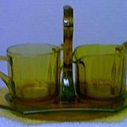Quality Art Deco Amber Glass Sugar and Tea Set