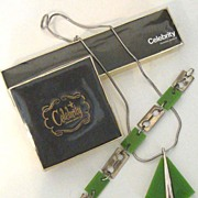 CELEBRITY Silvertone & Olive-Green Lucite Cutting-Edge Demi-Parure: Orig. Boxes