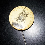 Early 1800's Vintage Pin Saint Louis Medieval Man on horse with sword