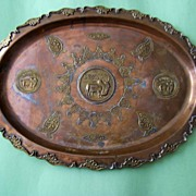 Large Decorative Vintage Copper Tray