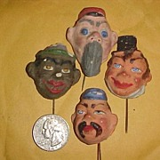 Four hat band pins, lapel pins