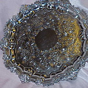 Hallmarked Silver Plate Footed Serving Tray
