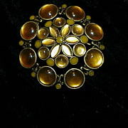 Liz Claiborne Golden Toned and Stoned Brooch