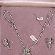 Vintage 1948 Prestige Rhinestone Necklace & Earrings Set NEW In Original Box