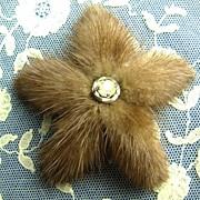 Vintage Mink Starfish Pin Brooch with Rhinestone