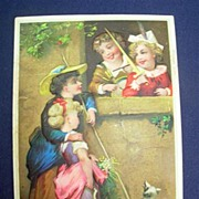 Vintage Embossed Color Birthday Greeting Card ~ Children & Dog
