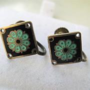 Lovely Vintage Sterling Enamel Earrings