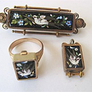 Fabulous Antique Micromosaic Pin, Pendant and Ring Set