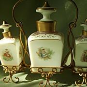 Antique  Scent Bottles in Gold Ormolu Wire Holder