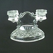 Crystal Pressed Glass Double Candle Holder