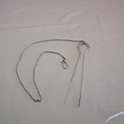 Vintage 14K White Gold Hair Pin w/Chain