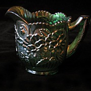 Imperial Carnival Glass Pansy Creamer Helios Green
