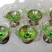 Set of Six Vintage Dessert Ice Cream Bowls Sterling Silver & Green Depression Glass (6)