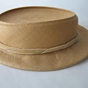 Hattie Carnegie Woven Straw Hat with Velvet Ribbon