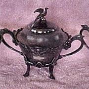 Egyptian Revival Meriden Black Silver Spooner, Master Sugar, Waste Pot