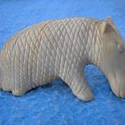 Hand carved IVORY Elephant and OTHER animal.  Handmade scrimshaw bone or tusk.