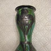 Green artglass vase with silver overlay or applique???