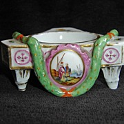 3 Footed Small Porcelain Bowl Colonial Hand Painting