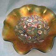 "Carnival Glass Bowl; ""Three Fruits Medallion""; Emerald Green"