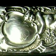 Antique Sterling Silver Art Nouveau Brush High Repousse Cupids