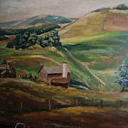 Glyn G. Jones Oil Painting '41 Farm Landscape