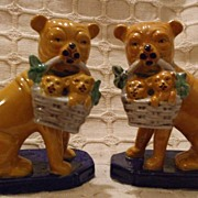 Pair Of Pug Dogs Carrying Pups In Basket Figurines Or Bookends