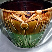 Vintage Majolica or McCoy Owens Pottery Flower Pot-Mint
