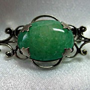 Vintage Green Stone on Stainless Pin