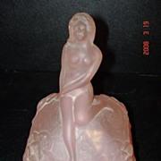Soft Frosty Pink Glass Nude Lady Face Powder Jar